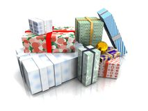 Christmas Presents Isolated. Christmas Presents with clipping path Stock Image