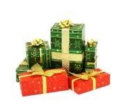 Christmas presents isolated on white background stock photo
