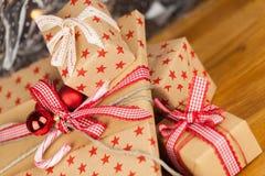 Christmas presents kraft concept Stock Photos