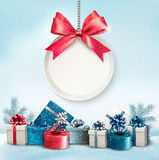 Christmas presents with a label and a ribbon. Royalty Free Stock Photography