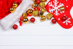 Christmas presents laid on a wooden table background Stock Photo