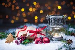 Christmas presents with lantern Stock Photo