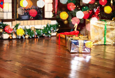 Christmas presents in living room under new year Royalty Free Stock Images