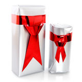 Christmas presents for man. Silver with red christmas presents for men Stock Image