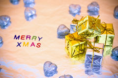 Christmas presents and Merry Xmas writing Royalty Free Stock Images