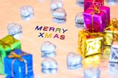 Christmas presents and Merry Xmas writing Royalty Free Stock Image