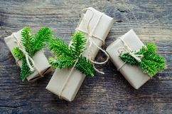 Christmas presents with natural decorations stock photography