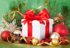Christmas Presents and Ornaments on retpo Royalty Free Stock Image