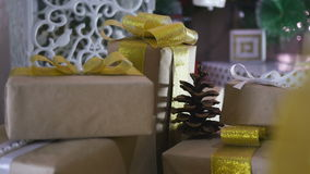Christmas Presents and Ornaments on Wooden Background stock video
