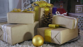 Christmas Presents and Ornaments on Wooden Background stock video footage