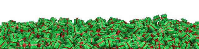 Christmas presents panorama. 3d illustration of panoramic pile of christmas presents Stock Images