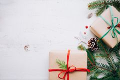Christmas presents with natural ornaments royalty free stock photos