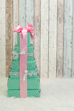 Christmas presents in pastel colors Stock Photo