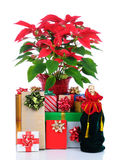 Christmas Presents and Poinsettia. Close up of a large stack of wrapped Christmas presents of varying sizes and shapes with a Poinsettia. Vertical format with stock photo