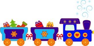 Christmas Presents Polar Express Train Illustration. Christmas presents polar express train with Christmas tree, Christmas stocking and presents Stock Photos
