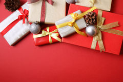Christmas presents on red background Royalty Free Stock Image