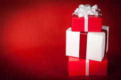 Christmas Presents on Red Royalty Free Stock Photos