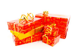 Christmas presents in red and gold Royalty Free Stock Photo