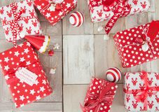 Presents in red and white wrapping paper Royalty Free Stock Photos