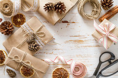 Christmas presents in rustic wrap Royalty Free Stock Image