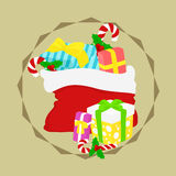 Christmas Presents Sack Vector. Christmas sack full of presents and candy canes vector Stock Photography