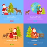 Christmas Decor and Present with Santa Claus. Christmas presents and Santa Claus on color backgrounds web banner. Santa and big reindeer decorate fir tree, send Royalty Free Stock Photo