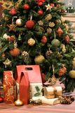Christmas presents scene. Christmas tree and presents background stock photography