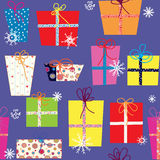 Christmas presents seamless pattern Stock Photos