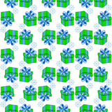 Christmas presents seamless pattern. Vector illustration of cartoon gifts  on white. Patter for paper decorate Stock Images