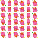 Christmas presents seamless pattern. Vector illustration of cartoon gifts  on white Royalty Free Stock Photos