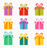 Christmas presents set. Colorful presents collection. Vector illustration Royalty Free Stock Image