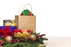 Christmas presents and a shopping bag Royalty Free Stock Photo