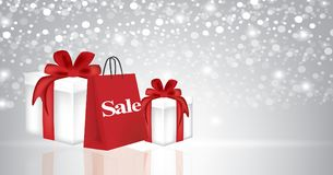 Christmas presents with shopping bag Stock Photo