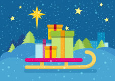 Christmas Presents on Sledge. Snowy Background Royalty Free Stock Photo