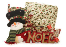 Christmas presents and stocking studio cutout. Portrait Stock Photography
