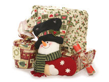 Christmas presents and stocking studio cutout Royalty Free Stock Images