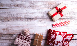 Christmas presents on a table. Christmas presents laid on a white wooden table background Royalty Free Stock Photography