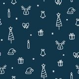 Christmas presents and trees, reindeer and candle seamless pattern cute doodle royalty free illustration