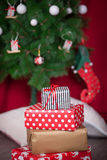 Christmas presents under a Christmas tree Royalty Free Stock Images