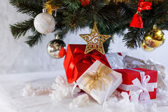 Christmas presents under the fir tree Stock Image