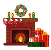 Christmas presents under the fireplace. Sketch of postcard, invitation, poster Royalty Free Stock Photography
