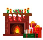 Christmas presents under the fireplace. Sketch of postcard, invitation, poster Royalty Free Stock Photos
