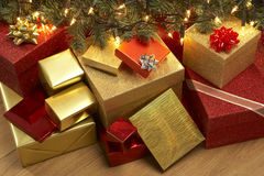 Christmas Presents Under Tree. Group Of Christmas Presents Under Tree stock photos