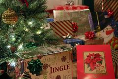Christmas presents under the tree. Christmas presents under the Christmas tree on Christmas morning in Indiana royalty free stock images