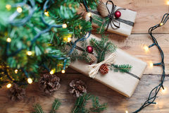 Christmas presents under a tree. Closeup of Christmas presents under a tree royalty free stock image