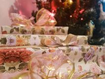 Christmas presents under the tree royalty free stock photos