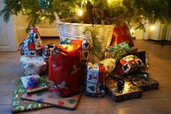 Christmas presents under the tree. Christmas presents under the Christmas tree in Holland royalty free stock image