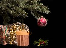 Christmas presents under tree with holly Royalty Free Stock Image
