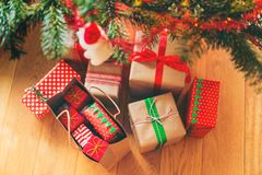 Christmas Presents under Christmas Tree. Seen from above stock image