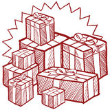 Christmas presents vector. Doodle style Christmas or holiday presents illustration in vector format Royalty Free Stock Photo